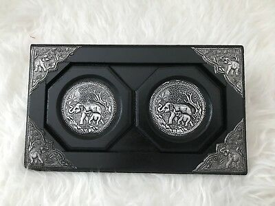 Lot Of 2 Wooden Coasters Elephant Silver Decoration Black With Tray Thailand