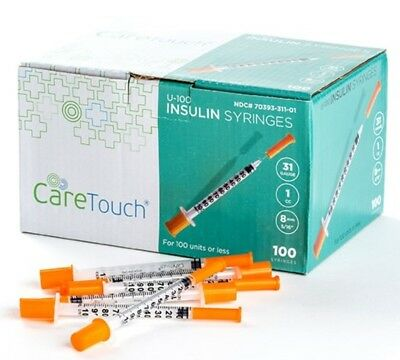 "Care Touch U-100 Insulin Syringe - 31g 5/16"" - 8mm 1cc 