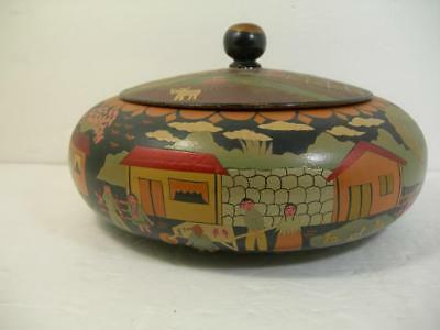 Vintage Mexican Hand Painted Lacquer Wooden Box W/ Lid Folk Art Farm Scene