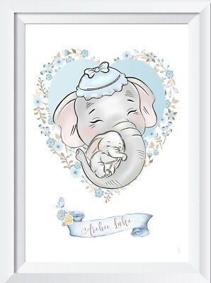1 A4 Personalised baby boy dumbo print picture name gift elephant  nursery art