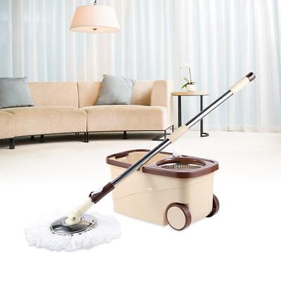 Mop 360° Rotating Spin Magic Mop and Bucket Set Foot Pedal Stainless Steel US