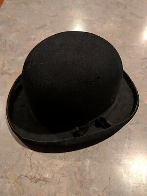 Vintage Schwartz Hat Co. Los Angeles Ca Usa Men's Black Felt Bowler Hat!