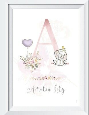 Personalised baby elephant girl print picture name nursery wall art child gift