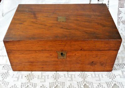 Large Mahogany Antique Writing Box Wooden Writing Slope ~ needs a little tlc
