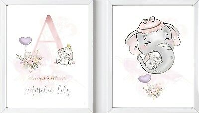 2 A4 Personalised baby elephant girl print picture name nursery dumbo gift art