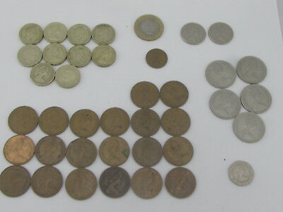 Lot of 40 UK British Coins Pound 10 Pence 20 Pence 2 Pence 20 Pence New Pence