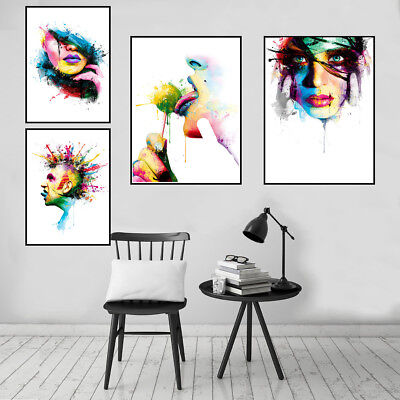 Fashion Women Sexy Lips Canvas Art Oil Painting Poster Wall Picture Home Decor