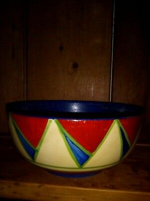 Clarice Cliff Original  Art Deco Bizarre Geometric Footed Fruit Bowl