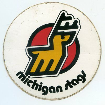 "Very Rare 1970's Wha Sticker Michigan Stags Defunct  Ice Hockey 3 1/2"" By 3 1/2"""