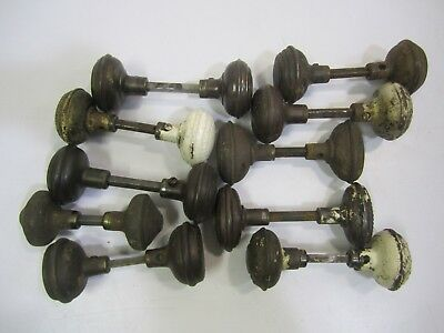 10 Pair/Sets Asstd Antique Vtg Steel ORNATE Door Knobs (20) Repurpose Restore #D