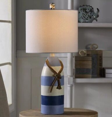 "Coastal Nautical Decor Table Lamp 24"" Bouy Style Beach Cottage Accent Light New"