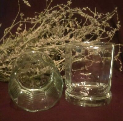 ~Vintage Pair of Crystal Whiskey Glasses A Classic Double Old Fashioned Scotch~