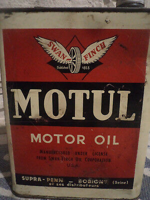 Ancien bidon huile moteur motor oil can tin oil Motul Swan Finch 1940 collection