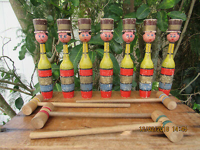 Antique French/Brit?MADE~Childs Carved Wooden SOLDIER CroquetSET Circa1900/1910