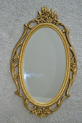 "28.5"" x 17"" Vintage Ornate Floral Brass/ Gold-Tone 5114 Syroco Oval Wall Mirror"