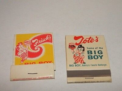Lot of 2 Big Boy Hamburger Matchbooks Frisch's + Tote's