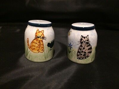 Cat Creatively Yours Hand Painted  Salt & Pepper Shakers