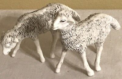 Vintage Pair of Lambs Made in Italy Sheep Figurine Nativity Christmas Village