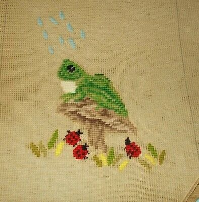 """Vintage Needlepoint Pillow Canvas-Frog w Lady Bugs-Scovill-25"""" long x 13"""" tall"""