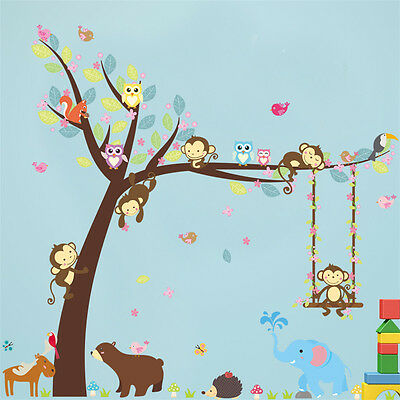 wall stickers for kids room Monkey Wall Decal Nursery Bedroom Decor Poster Mural