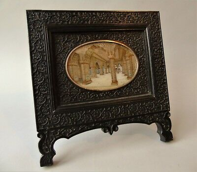 Antique Painting Jaipur City Palace in Carved Hardwood Frame