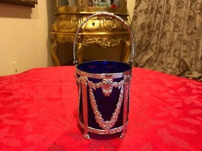 Fine Marked Spanish Solid Silver Empire Style Ice Pail Cobalt Blue Glass Liner