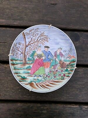 A Famille Rose Plate with Romance Scene, D. 20 cm