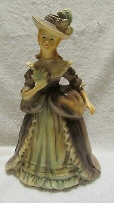"""Vintage Victorian style Ceramic Woman in Long Brown Dress 9"""""""
