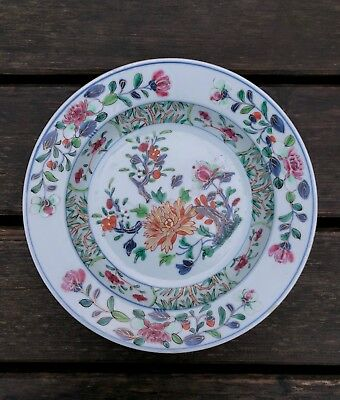 A Deep Famille Rose Plate with Flowers, D. 22 cm