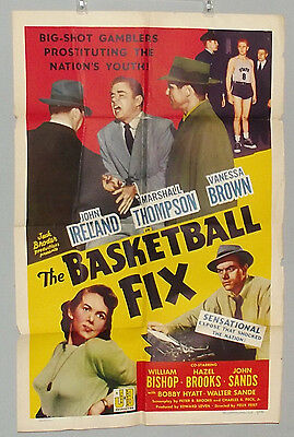"The Basketball Fix (Realart, 1951). One Sheet (27"" X 41""). Crime.VG OR BETTER."