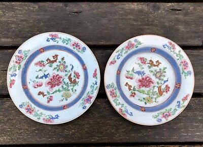A Pair of  Famille Rose Plate with Flowers, D. 23 cm