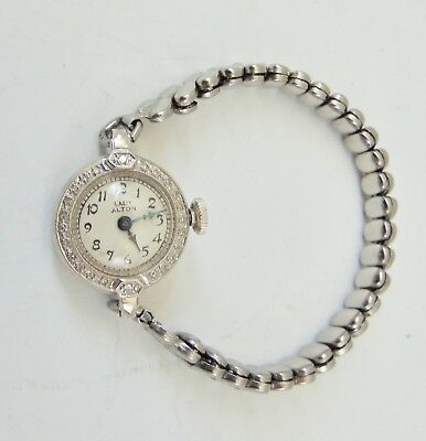 Vtg LADY ALTON Swiss 14K White GOLD Case IMPERIAL Watch Co. Wristwatch-Diamonds?
