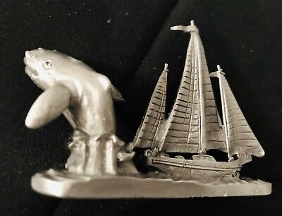 Pewter WHALE SAILBOAT Moby Dick Ocean Beach Silver Metal Figurine Statue