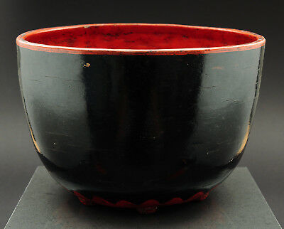 Burmese lacquerware, rare large and heavy bowl, Burma, late 19th / early 20th c.
