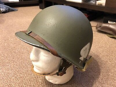 WWII WW2 US Army 506tH PIR Front Seam FIXED BALE Paratrooper Helmet Easy Co