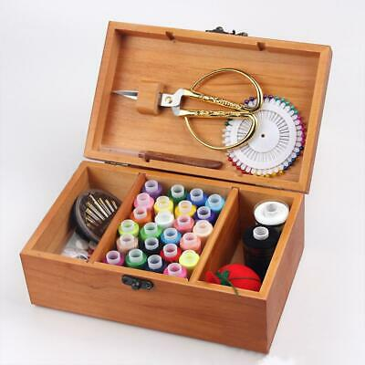 Wooden Basket Sewing Box Gift Set Retro Kit Accessories Storage Case