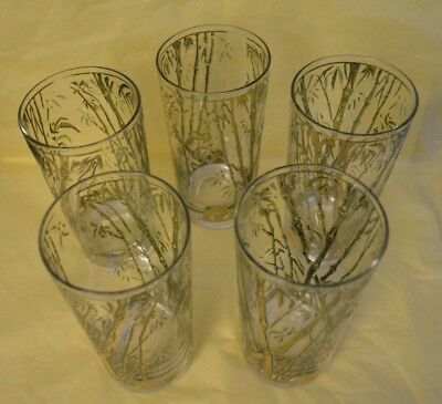 1960s Vintage Gold Gilt Bamboo Patterned Tumblers - Set of 5