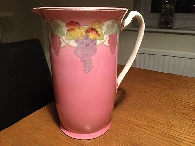 Vintage Very Large Pitcher Jug 12 Inches Pink Handpainted Stunning Piece!!