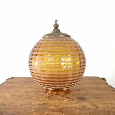 "Amber Glass Globe Light Shade 4"" Fitter Boho Stripe VTG Ceiling Frosted Antique"