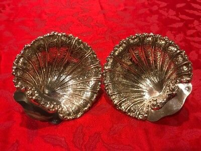 Pair Beautiful Sterling  Silver  Centerpiece With Seashell Form Mint Condition