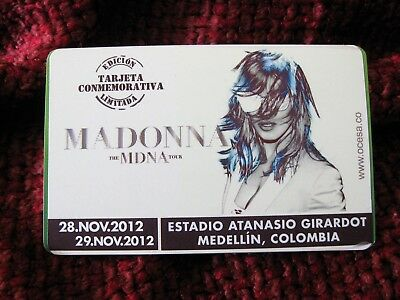 Madonna OFFICIAL COLUMBIA Train Card Subway MDNA TOUR Pass Limited Edition Promo