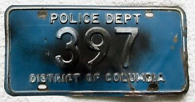 1950 - 1953 District of Columbia Police Department License Plate # 397
