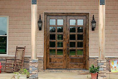 Cottage French Entry Door 6/0x8/0 DOUBLE ENTRY DOOR 20 LITE KNOTTY ALDER