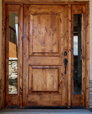 #ex-1331 Rustic Design Knotty Alder Entry Door With Side Lites 3068