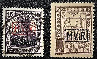ROMANIA 1917 WW1 GERMAN OCCUPATION Sc#3NRA5, #3N1 Mint/Used H/OG NG VF (L-2)
