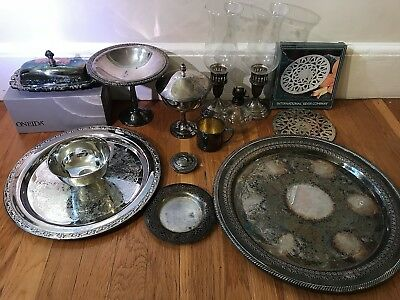 HUGE VTG SILVER LOT plate sterling antique Towle Oneida bowl P&A Acorn Co lamp