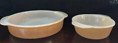 "Set Of 2 VTG Original Fire King Peach Luster Ware Casserole Dishes 8""and 5"""