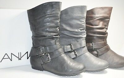 New Anna N070 Womens Fashion Slouchy Flat Boots Faux Leather Two Buckle Shoes