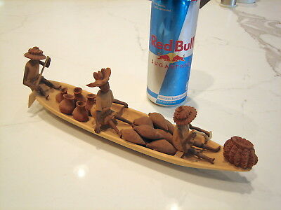 Vintage Nigerian Thorn Wood Carved Boat and Figures