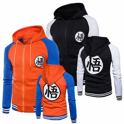 Mens Dragon Ball Z Son Goku Anime Sweatshirt Jacket Hoodies Sweater Coat Outwear